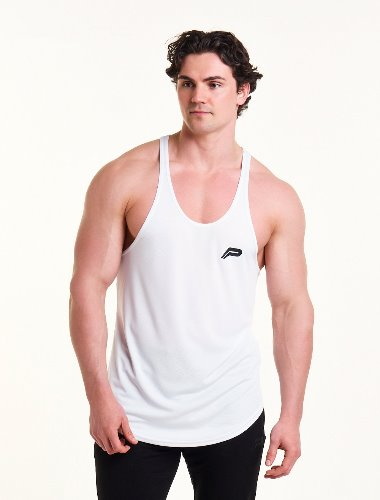 MESH BACK STRINGER VEST - White