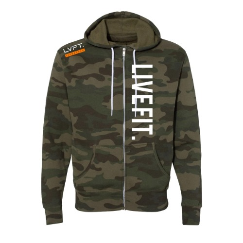 Live Fit Zip Up - Green Camo